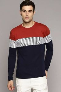 Men's Fashionable and Stylish Color Blocked Printed Cotton Round Neck T-Shirt (Maroon)