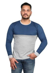 Comfortable and Regular Fit Cotton Blend Round Neck T-Shirt For Men's (Blue & Grey) (Pack of 1)