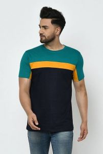 Slim Fit Cotton Color Blocked Printed Short Sleeves Round Neck T-Shirt For Men's (Blue) (Pack of 1)