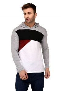 Comfortable and Regular Fit Cotton Color-Blocked Hooded For Men's (White& Grey) (Pack of 1)