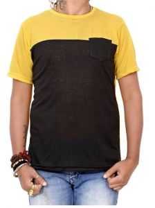 Men's Fashionable and Stylish Color Blocked Printed Polyester Round Neck T-Shirt (Mustard)