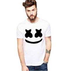 Slim Fit Cotton Printed Short Sleeves Round Neck T-Shirt For Men's (White) (Pack of 1)
