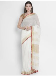 Women Stylish Fancy Cotton Linen Saree With Blouse Piece White - (Free Size)