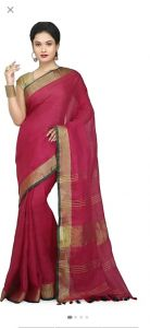 Women Stylish Fancy Cotton Linen Saree With Blouse Piece Maroon - (Free Size)