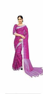 Women Stylish Fancy Cotton Linen Saree With Blouse Piece Dark Pink - (Free Size)