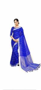 Women Stylish Fancy Cotton Linen Saree With Blouse Piece Blue - (Free Size)