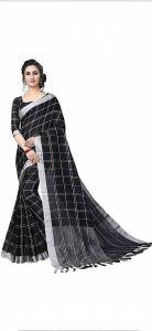 Women Stylish Fancy Cotton Linen Saree With Blouse Piece Black - (Free Size)