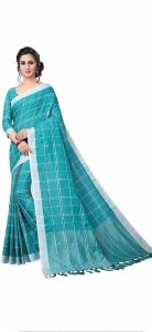 Women Stylish Fancy Cotton Linen Saree With Blouse Piece Sky Blue - (Free Size)