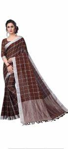 Women Stylish Fancy Cotton Linen Saree With Blouse Piece Chocolate - (Free Size)