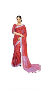 Women Stylish Fancy Cotton Linen Saree With Blouse Piece Pink - (Free Size)