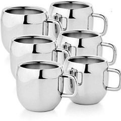 Stainless Steel Double Walled Tea & Coffee Mug Silver Double Walled Mug  (Pack of 6)