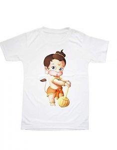 Shree Chitransh Creations Design - Regular Fit Lord Hanuman Printed T-Shirt for Kids (Color-White)