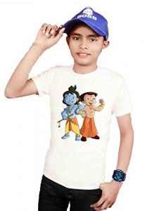 Lord Krishna and Bhim Design Printed Regular Fit T-Shirt for Boys (Color-White)