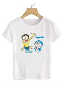 Casual & Stylish Doremon Cartoon Design Printed Regular Fit T-Shirt for Kids (Color-White)