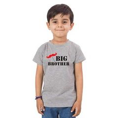 Casual & Stylish Regular Wear Big Brother Printed T-shirts for kids (Color-Grey)