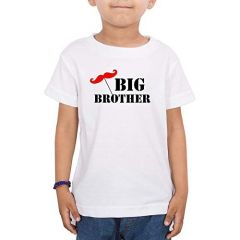 Casual & Stylish Regular Wear Big Brother Printed T-shirts for kids (Color-White)
