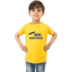 Casual & Stylish Regular Wear Big Brother Printed T-shirts for kids (Color-Yellow)