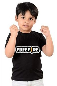 Casual & Stylish Regular Wear Freefire Printed T-shirts for kids (Color-Black)