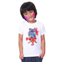 Happy-Holi Printed T-shirts for kids Casual & Stylish Collection for Regular Wear, Parties & Gifting Purpose (Color-White)