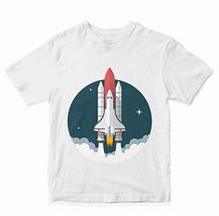 Printed Casual & Stylish Regular Wear Rocket-Launcher T-shirts for kids (Color-White)