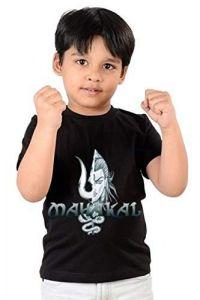 Classic Fit Regular Wear Mahakal Printed 2.0 T-shirts for kids (Color-Black)