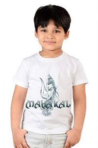 Classic Fit Regular Wear Mahakal Printed 2.0 T-shirts for kids (Color-White)