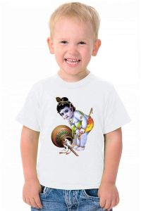Kids Lord Krishna with Matki Printed t-Shirt Casual & Stylish Collection for regular wear (Color-White)