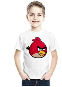 Angry Bird Design Printed Regular Wear T-Shirt for Kids (Color-White)