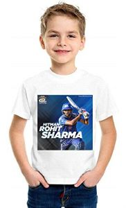 Hit Man Design Casual & Stylish Rohit Sharma Printed T-Shirt for Kids (Color-White)