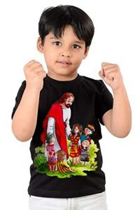 Casual & Stylish Jesus Printed Regular Wear  T-shirts for kids (Color-Black)