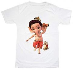 Regular Fit Lord Ganesh with Mouse Printed Design T-Shirt for Kids (Color-White)