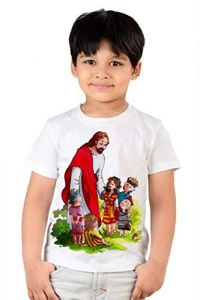Casual & Stylish Jesus Printed Regular Wear T-shirts for kids (Color-White)
