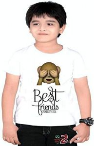 Kids Best Friends Forever Printed T-shirts for regular wear, parties & gifting purpose (Color-White)