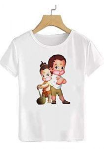 Half Sleeves Round Neck Regular Fit Double Lord Hanuman Printed T-Shirt for Kids (Color-White)