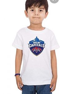 Round Neck Logo of Delhi Capitals Printed Regular Fit t-Shirt for Kids (Color-White)