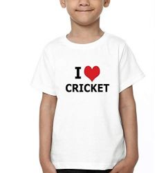 Half Sleeves I Love Cricket Printed Round Neck T-shirts for Kids (Color-White)