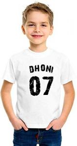 Round Neck Half Sleeves Dhoni 07 Printed Regular Fit T-shirts for kids (Color-White)