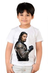 ROMAN-REIGNS Printed Classic Fit T-Shirts for Kids (Color-White)