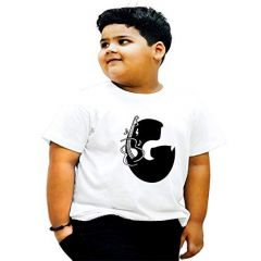 Round Neck G Alphabet Printed Regular Wear T-shirts for kids (Color-White)