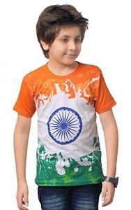 Classic Fit Ashoka Chakra Symbol Round Neck Printed Half Sleeve T-Shirt for kids (Color-White)
