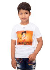 Bright Maruti Hanuman Printed Regular Fit, Round Neck, Half Sleeves t-Shirt for Kids (Color-White)