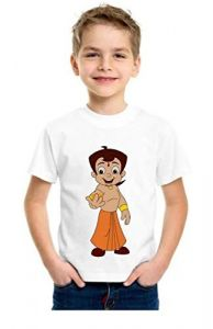 Casual Bhim Cartoon Printed Round Neck, Half Sleeves t-Shirt for Kids (Color-White)