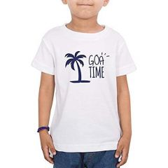 Casual & Stylish GOA Printed Round Neck Half Sleeves T shirts for kids (Color-White)