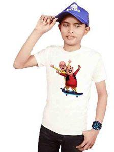 Round Neck Motu Patlu Cartoon Printed Regular Fit Half Sleeve T-Shirt for Kids (Color-White)