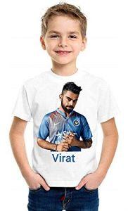 Casual Regular Fit Cricketer Virat Kohli Printed Half Sleeves T-Shirt for Kids (Color-White)