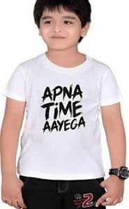 Half Sleeves Apna Time Ayega Printed Regular Wear Casual t-Shirt for Kids (Color-White)
