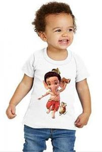 Round Neck Half Sleeves Bal Ganesh Printed Regular Fit Casual T-Shirt for Kids (Color-White)