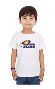 Casual Regular Fit Mumbai Indians Logo Printed Round Neck Half Sleeves T-Shirt for Kids (Color-White)