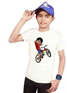 Rider Shiva Cartoon Design Printed Regular Fit T-Shirt for Kids (Color-White)