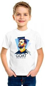 Half Sleeves, Round Neck Messi (Goat) Printed Casual T-shirts for kids (Color-White)